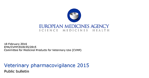Report EMA farmacovigilanza veterinaria 2015 europea