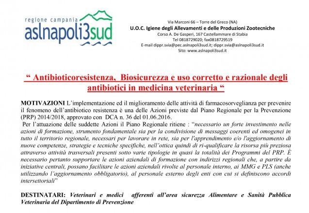 Convegno 19 Dicembre 2016: Antibioticoresistenza, Biosicurezza e uso corretto e razionale degli antibiotici in medicina veterinaria